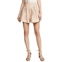 Zimmermann Painted Heart Lace Up Striped Linen Shorts (31.270 RUB) ❤ liked on Polyvore featuring shorts, blossom stripe, pink striped shorts, high waisted linen shorts, pink high waisted shorts, short shorts and stripe shorts