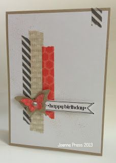 stripes of washi tape topped with butterfly