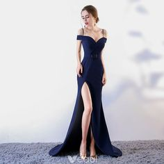 Sexy Navy Blue Evening Dresses 2017 Trumpet / Mermaid Spaghetti Straps Short Sleeve Metal Sash Split Front Court Train Backless Formal Dresses