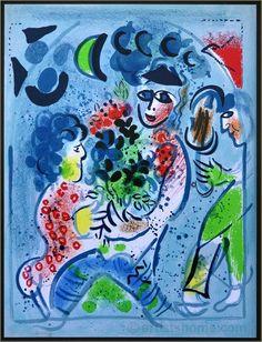 Marc Chagall: Bouquet de fleurs, Lithographie originale 1969 Mourlot