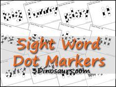 Free Sight Word Dot Marker: Pre-Primer, Primer & 1st Grade Dolch Words - 3Dinosaurs.com