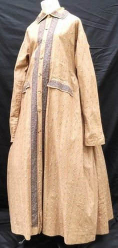 CIVIL WAR ERA RARE FLORAL CALICO MATERNITY GOWN FULLY HAND SEWN