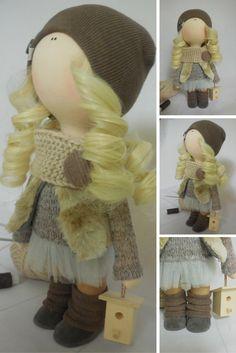 Soft doll Tilda doll Textile doll Handmade doll Fabric doll Brown doll Cloth doll Rag doll Interior doll Baby doll Nursery doll by Maria