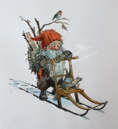 Nisse på spark (Gnome) - Kjell Midthun Gnome on a kick sled. Scandinavian Art, Scandinavian Christmas, Woodland Creatures, Magical Creatures, Christmas Gnome, Christmas Art, Vintage Christmas Cards, Christmas Pictures, Decoupage