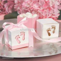 Pink Baby Shower Box Kit for Baby Girl with Baby Feet Cut Out. Makes 12 Boxes - Includes Pink Satin Ribbon Ties * Continue to the product at the image link. (This is an affiliate link) Fiesta Baby Shower, Baby Shower Favors Girl, Baby Shower Candy, Baby Favors, Baby Shower Cupcakes, Girl Shower, Shower Box, Shower Party, Baby Shower Parties