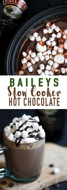 Baileys Slow Cooker Hot Chocolate - The perfect, most creamy and delicious crock pot hot chocolate you can imagine. Ideal for Christmas and winter days. # Food and Drink ideas crock pot Baileys Slow Cooker Hot Chocolate Hot Chocolate Baileys, Crockpot Hot Chocolate, Hot Chocolate Bars, Hot Chocolate Recipes, Chocolate Food, Christmas Hot Chocolate, Hot Chocolate Toppings, Chocolate Party, Christmas Drinks