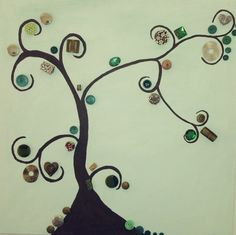 This Beautiful piece is made on a 20 x 20 canvas. Handmade with acrylic paint, buttons and various stunning embellishments to make this tree