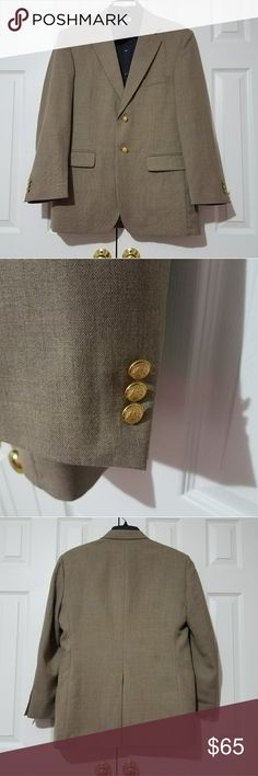 Stafford 40R Brown/Tan Blazer With Gold Buttons Gently worn Blazer with no rips, tears, stains found. Perfect to wear with jeans for date night.  ***SHIRT NOT INCLUDED***  Measurements taken while laying flat: Size: 40R Color: Brown/Tan Material: 55% Polyester 45% Wool Chest (Underarm to Underarm): 22 Waist: 21 Length (From Bottom of Collar): 31 Sleeves (Top of shoulder to end of cuff): 24 Shoulders (Seam to seam): 19 Vent: Single Stafford Suits & Blazers Sport Coats & Blazers