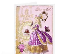 Marie Antoinette let them eat cake card, French vintage style in purple and gold, blank inside