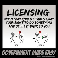 Licensing: When Government Takes Away Your Right To Do Something And Sells It Back To You