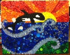 This art piece was created by my 5th graders using recycled bottle caps (it took us the entire school year to collect). STEAM teaching points: S - Importance of recycling and the dangers of plastic...