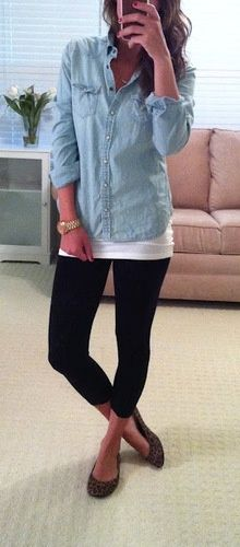 Chambray shirt, white tank top, black leggings, leopard print flats