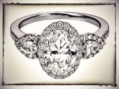 Oval Diamond Halo Engagement Ring Pear Shape Side Stones