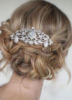 Bridal Bridesmaid Flower Fleur de Lis Hair Comb Clear Rhinestone Crystals rhinestone bridal gift
