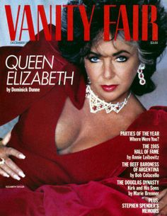Vanity Fair 1985 with Liz Taylor (December 1985). Liz Taylor is wearing jewels of her private collection: a necklace of rubies and diamonds, with matching Ruby earrings, by Cartier (gifts from Mike Todd, August 1957), and Ruby and Diamond ring, by Van Cleef & Arpels (gift from Richard Burton, Christmas, 1968).