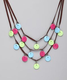 Take a look at this Pink & Blue Wafer Dot Necklace by Jewelry Box: Women's Accessories on #zulily today!