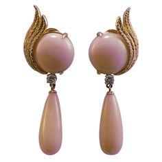 1STDIBS.COM Jewelry & Watches - Pair of Angelskin Coral & Diamond Earrings. - Susana Zori, Inc.
