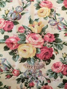 Sweet Shabby Vintage Barkcloth Era Faille Fabric Roses by RuinsCa, $65.00