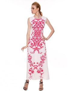 Stylish Ladies Women Elegant Round Neck Ankle-Length Print Dress