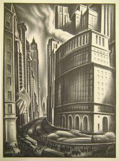 "Print, ""Looking up Broadway"", 1937, Cooper Hewitt Collection"
