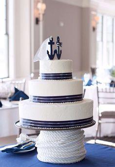 Fantastic nautical wedding cake inspiration & cake topper   http://emmalinebride.com/themes/nautical-wedding-ideas/ #weddingcakes