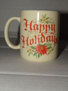 Coffee Mug Cup Latte Tea Hallmark Vintage Merry Christmas Happy Holidays