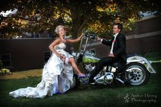 Bride and Groom Motorcycle on their Wedding Day in Fall in Michigan