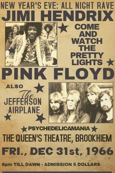 Music ©: 'Pink Floyd' and Jimi Hendrix (Concert Rock Band Posters, Vintage Concert Posters, Tour Posters, Vintage Rock, Rock Concert, Rock Legends, Festival Posters, Pop Rocks, Rock N Roll