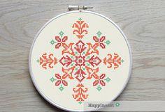 modern cross stitch pattern, geometric fleur-de-lys ornament, PDF ** instant download**