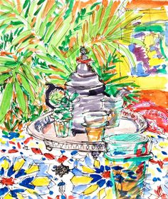Moroccan Mint Tea watercolor 85x12 by permanentmagenta on Etsy, $65.00