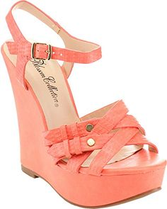 Shop for De Blossom Women's Criss-cross Ankle Strap Wedges. Get free delivery On EVERYTHING* Overstock - Your Online Shoes Outlet Store! Pink Wedge Sandals, Coral Wedges, Coral Shoes, Coral Sandals, Platform Wedges Shoes, Studded Sandals, Wedge Shoes, Summer Sandals, Strappy Sandals