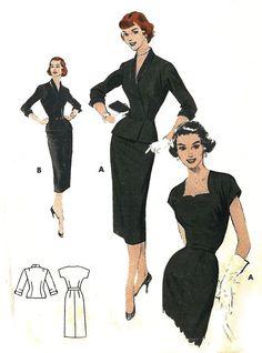 "Vintage 1950's Sewing Pattern ROCKABILLY Sheath Dress Cut Out Neckline Bust 36"""
