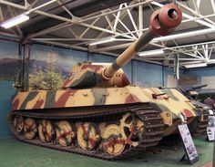 """The only surviving copy of the King tiger with the turret of type """"Porsche"""". This tank is on display in the British Museum of weapons and equipment in Bovington."""
