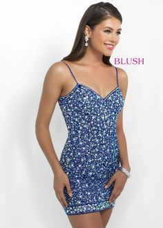 Black by Blush C330 Sexy Blue Beaded Cocktail Dress #prom2016