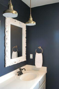 Hale Navy By Benjamin Moore For The Big Boy Room Bathroom Mirror Framesnavy Bathroomblue