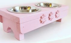 Pink Elevated Dog Feeder Cat Bowl Holder Pink Flower Rosettes for the Princess