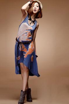 e19b429fe Simple Printing Sleeveless Abnormity Slim Dress Blue