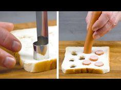 Use um cortador no pão de forma! 3 ideias inteligentes para uma refeição rápida - YouTube Sandwiches, Tapas, Party Dips, Piece Of Bread, Mini Cakes, My Recipes, Good Food, Baking, Breakfast