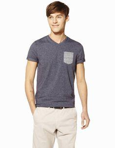 3c7499ae1d71 T-shirt uni col V à poche coton majoritaire - ABEPOCHE MARINE24 - Vue de  face