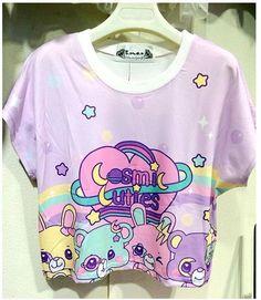 Harajuku Zipper soft sister super adorable candy bear cartoon printed T-shirt #7clothes #BasicTee