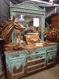 rustic turquoise dresser and mirror