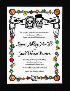 Dia de los Muertos Invitations. Maybe for bridal shower or rehearsal dinner?