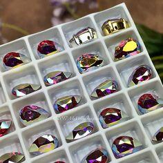Rose AB Vintage Swarovski Crystal 10x7mm Pear 4320 With