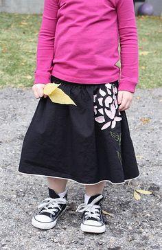 from woman's skirt to girl's skirt (, made, made blog, dana made it, dana willard) http://livelovewear.com/kidsclothes