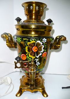 USSR Russian Folk Art painted Deco Electric Samovar Urn Tea Server