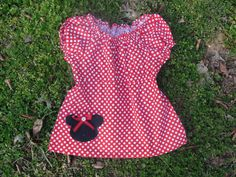 Red and White Polka Dot Minnie Mouse Peasant by JustSewStinkinCute, $32.00