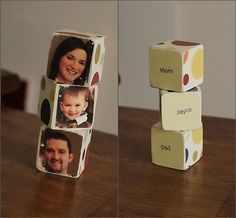 Blocks for the kids with all the family members! A great idea that uses scrapbook paper, photos, and mod podge! A perfect family project! #diy #craft