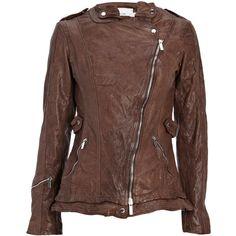 Italian leather biker jacket ($435) ❤ liked on Polyvore featuring outerwear, jackets, women, rider jacket, genuine leather biker jacket, motorcycle jacket, brown motorcycle jacket and leather biker jacket