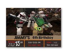 Yoda Star Wars Lego War Kids Birthday Invitation Party Design