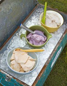 A vintage cooler doubles as a self-serve dessert bar | @Country Living Magazine